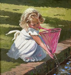 The Big Pink Net by Sherree Valentine Daines - Original Painting on Board sized 11x12 inches. Available from Whitewall Galleries